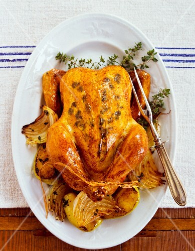Freshly roasted thyme chicken