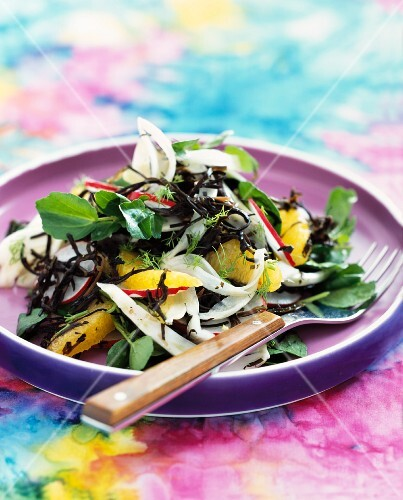 Watercress and seaweed salad with fennel, orange and radishes