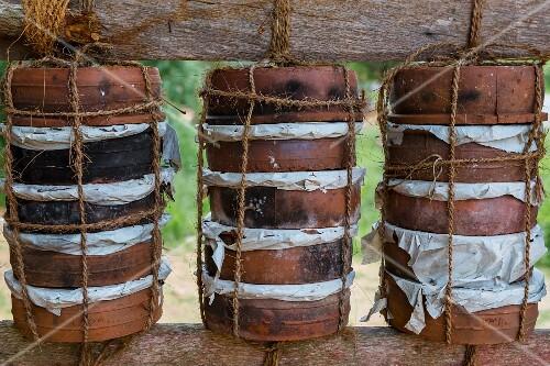 Terracotta pots of quark at a street market in Sri Lanka