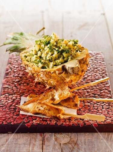 Tabbouleh with pineapple and chicken skewers