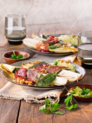 Chicory saltimbocca with raw ham and sage