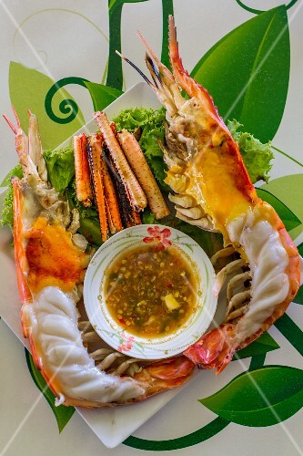 Grilled giant freshwater prawn with a dip (Ayutthaya, Thailand)