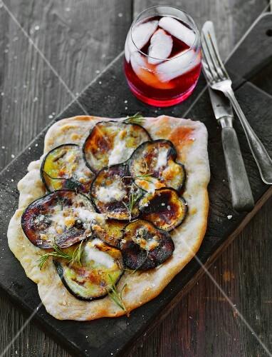 A rustic aubergine pizza