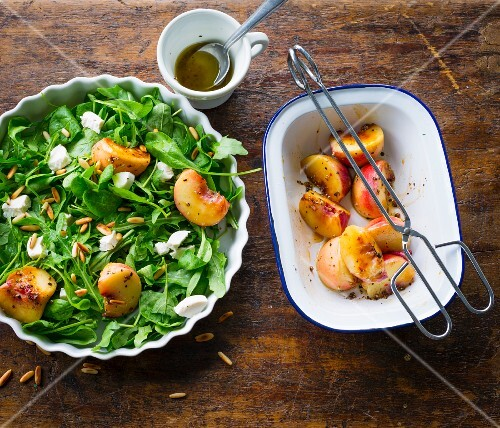 A summer salad with grilled peaches