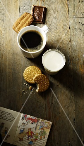 Coffee, milk, biscuits and a children's book