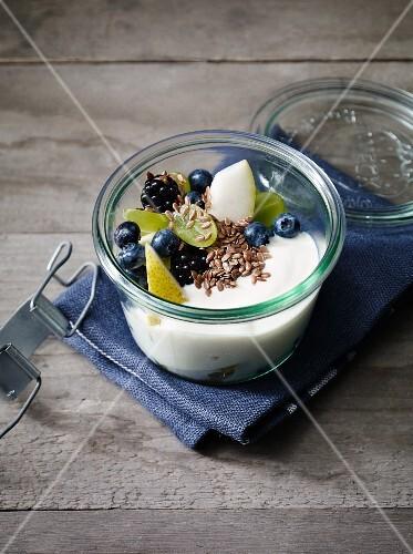 Soy yogurt with fruit salad