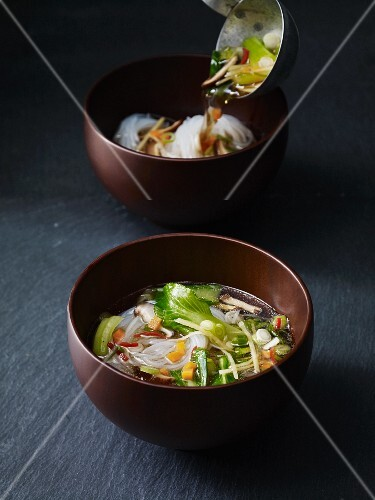 Asian vegetable soup with glass noodles