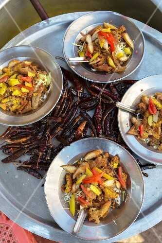 Samosa salads and dried chilli peppers (Myanmar)