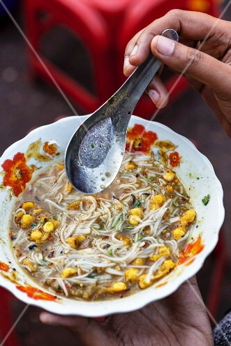 Noodle soup with sweetcorn (Myanmar)
