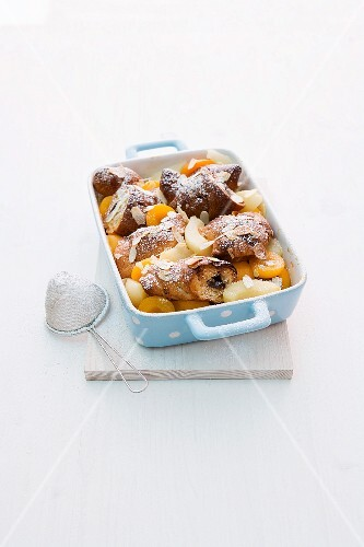Croissant bake with pears and apricots