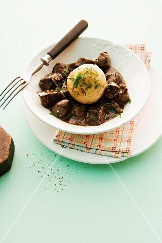 Venison ragout with a bread dumpling