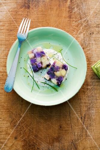 Potato terrine with chive creme fraiche