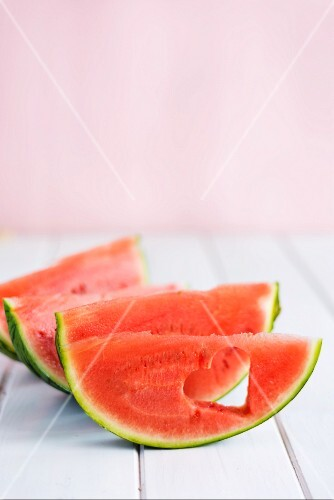 Hearts cut out of watermelon wedges
