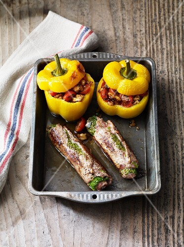 Veal roulade and stuffed peppers