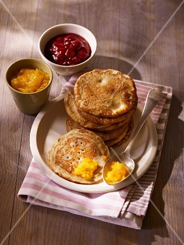 Bourrioles (pancakes made from wheat flour and buckwheat flour, France)