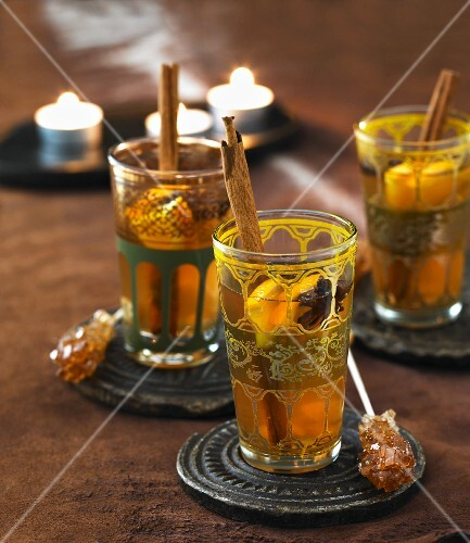 Tea with spices and rock candy sticks