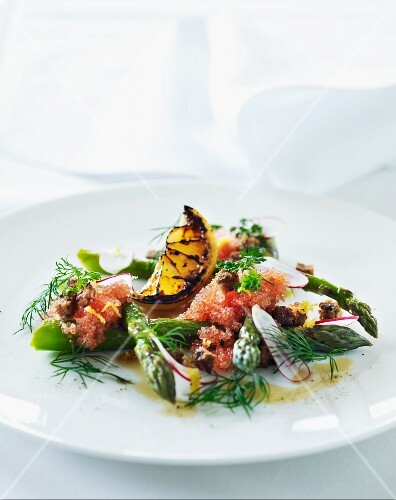 Marinated green asparagus with caviar