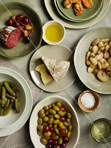 Olives, gherkins, marinated beans, salami and cheese