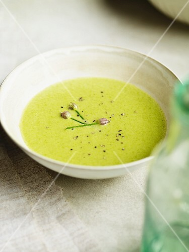 Cream of pea soup with chives