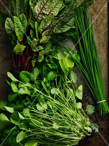 Watercress, beetroot leaves and chives
