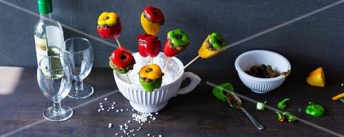 Stuffed mini peppers on sticks