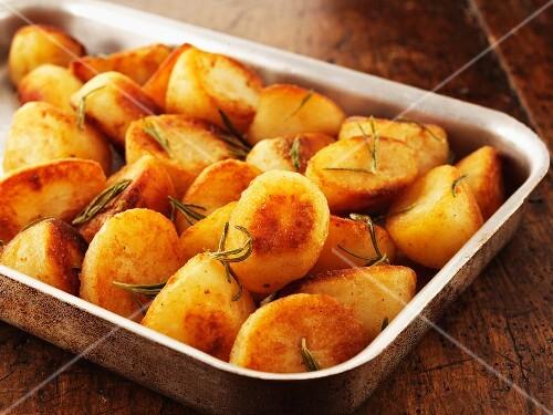 Rosemary potatoes in a roasting dish