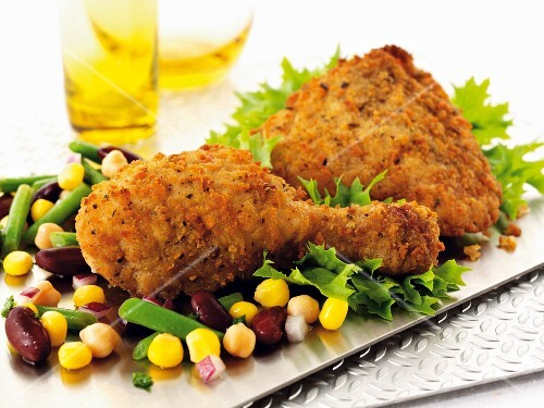 Breaded chicken with a bean and sweetcorn salad