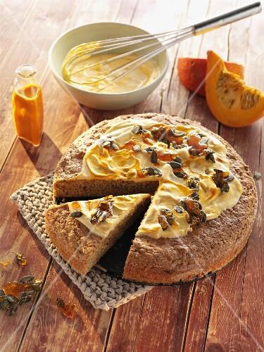 Pumpkin loaf, a slice cut