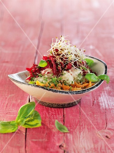 Tri-coloured vegetable salad with bean sprouts