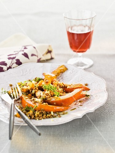 Roast pumpkin slices with lentils