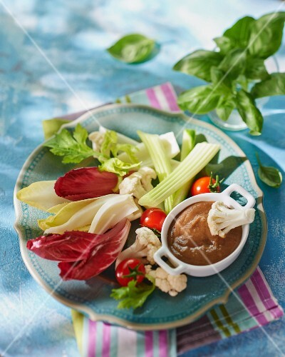 Raw vegetables with an anchovy dip