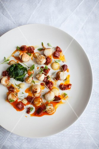 Scallops with chorizo
