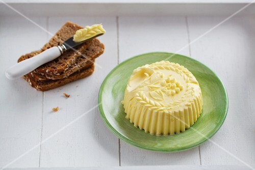 Butter shaped with a butter model