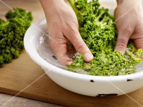 Green kale being washed