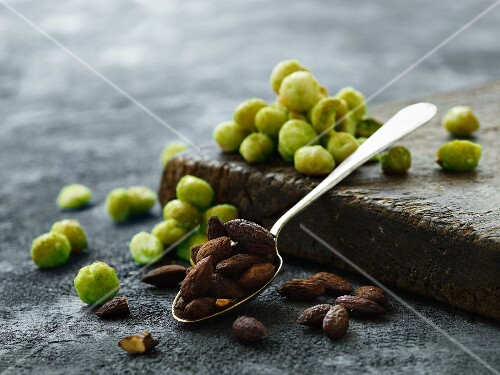 Wasabi peanuts and roasted almonds