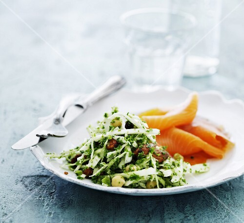 White cabbage salad with smoked salmon