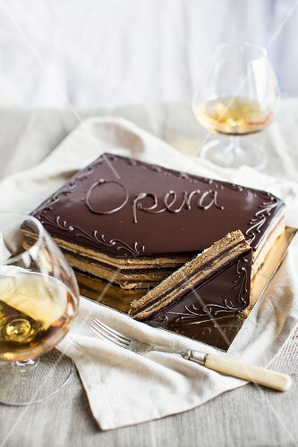 Gateau Opera (layered cake with chocolate glaze)