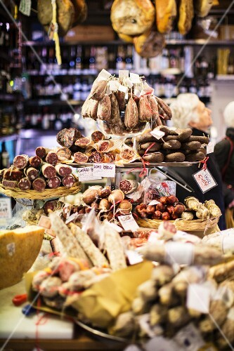 Various cured meats in a delicatessen in Rome