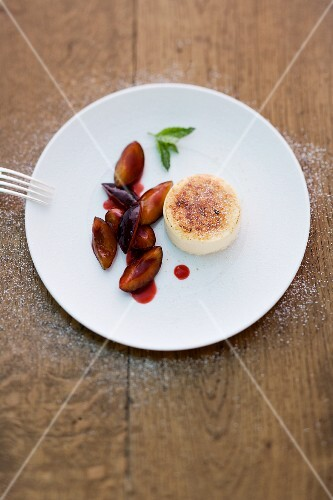 Riesling flan with damson compote