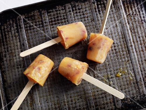 Mandarin and cranberry ice cream sticks