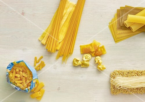 Assorted types of pasta (view from above)