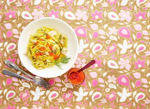 Lemon pasta with smoked trout and caviar