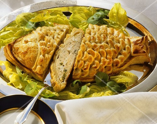 Fish Puff pastry with Fish Filling on a Bed of Lettuce