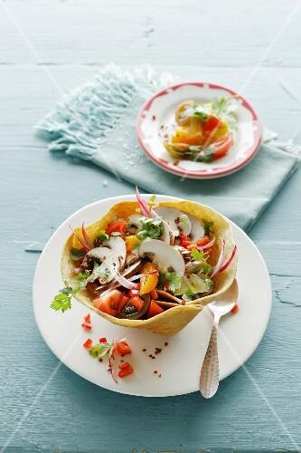 Mushroom ceviche in taco bowls