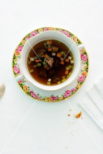A cup of oxtail soup