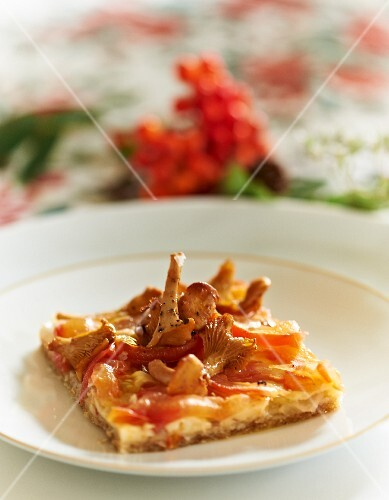 A slice wholemeal pizza with chanterelle mushrooms and tomatoes