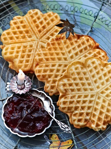 Crispy Finnish waffles with lingonberry jam