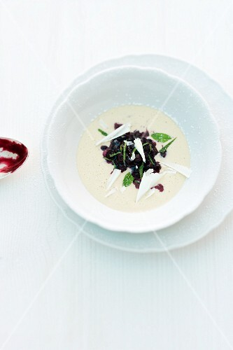White chocolate mocha soup with blueberries