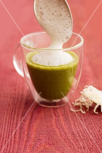 Spinach soup with Parmesan foam
