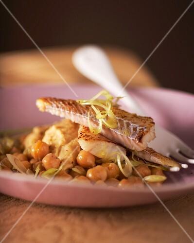 Wolffish on a chickpea salad